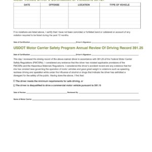 Annual Driver Violations Review