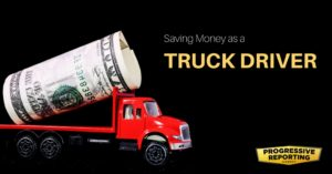 A toy semi truck with a roll of money as its haul.