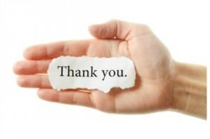 Thank you image with hand