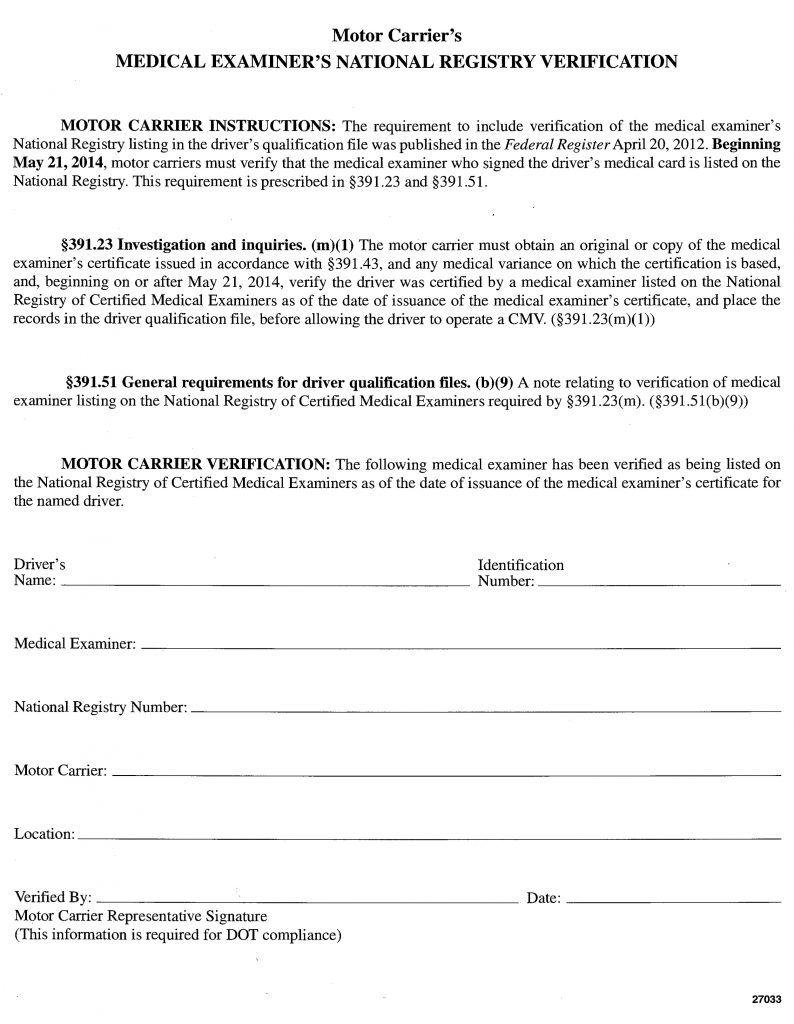 Medical Examiner's National Registry Verification