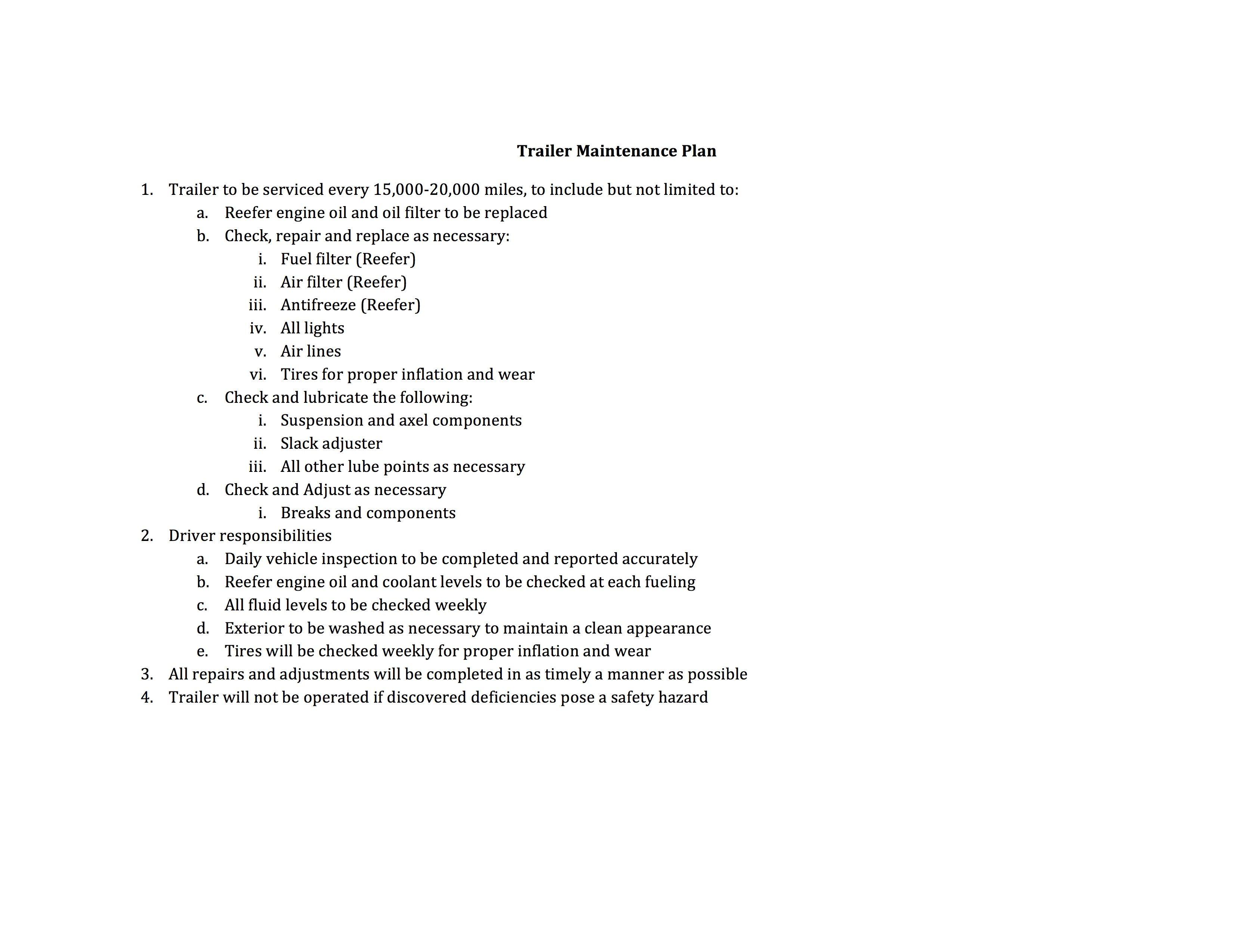 Trialer maintenance plan