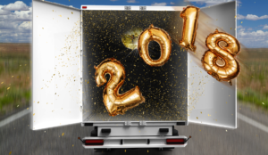 Open truck with disco ball and balloons