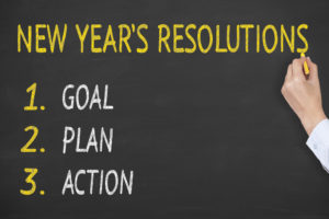 A new year's resolution consists of a goal, plan, and action.