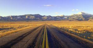 Desert road representing US Route